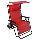 Jeco GC2 Oversized Zero Gravity Chair With Sunshade And Drink Tray - Red