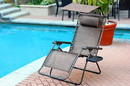 Jeco GC9_2 Set Of 2 Oversized Zero Gravity Chair With Sunshade And Drink Tray - Brown Mesh