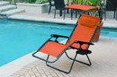 Jeco GCOL14 Oversized Olefin Zero Gravity Chair with Sunshade and Drink Tray - Terra Cotta