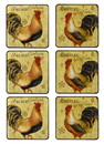 Jeco HD-HA043 Set Of 7 Coaster With Rooster Pattern