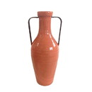 Jeco HD-HADJ046OR Medium Orange Vase With Metal Handle
