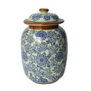 Jeco HD-HADJ052 Medium Blue & White Pattern Lidded Jar