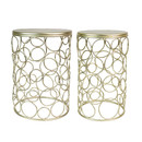 Jeco OF-ST001 Set Of 2 Round Metal Side Table - Champagne