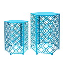 Jeco OF-ST002 Set Of 2 Hexagon Metal Side Table - Turquoise