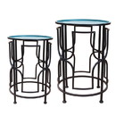 Jeco OF-ST003 Set Of 2 Round Metal Side Table - Green And Black