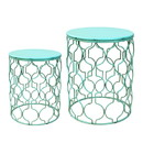 Jeco OF-ST004 Set Of 2 Round Metal Side Table - Green