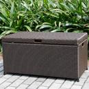 Jeco ORI003-A Espresso Wicker Patio Storage Deck Box
