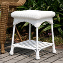 Jeco OTI001-B White Wicker Patio End Table