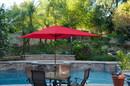 Jeco UBP62-UBF61 6.5' X 10' Aluminum Patio Market Umbrella Tilt W/ Crank - Red Fabric/Champagne Pole