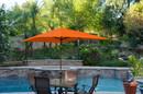 Jeco UBP62-UBF69 6.5' X 10' Aluminum Patio Market Umbrella Tilt W/ Crank - Orange Fabric/Champagne Pole