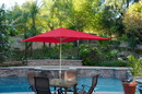 Jeco UBP64-UBF61 6.5' X 10' Aluminum Patio Market Umbrella Tilt W/ Crank - Red Fabric/Grey Pole