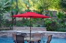 Jeco UBP93-UBF91 9Ft. Aluminum Patio Market Umbrella Tilt W/ Crank - Red Fabric/Champagne Pole