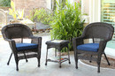 Jeco W00201_2-CES011 Espresso Wicker Chair And End Table Set With Midnight Blue Chair Cushion