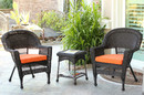 Jeco W00201_2-CES016 Espresso Wicker Chair And End Table Set With Orange Chair Cushion