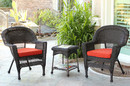 Jeco W00201_2-CES018 Espresso Wicker Chair And End Table Set With Brick Red Cushion