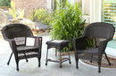 Jeco W00201_2-CES Espresso Wicker Chair And End Table Set Without Cushion