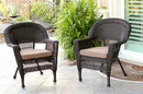 Jeco W00201_2-FS007-CS Espresso Wicker Chair With Brown Cushion - Set Of 2