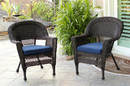 Jeco W00201_2-FS011-CS Espresso Wicker Chair With Midnight Blue Cushion - Set Of 2
