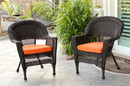 Jeco W00201_2-FS016-CS Espresso Wicker Chair With Orange Cushion - Set Of 2