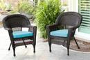 Jeco W00201_2-FS027-CS Espresso Wicker Chair With Sky Blue Cushion - Set Of 2