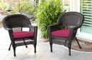 Jeco W00201_2-FS030-CS Espresso Wicker Chair With Red Cushion - Set Of 2