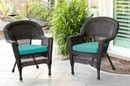 Jeco W00201_2-FS032-CS Espresso Wicker Chair With Turquoise Cushion - Set Of 2