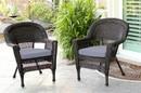 Jeco W00201_2-FS033-CS Espresso Wicker Chair With Steel Blue Cushion - Set Of 2