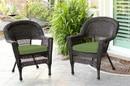 Jeco W00201_2-FS034-CS Espresso Wicker Chair With Hunter Green Cushion - Set Of 2