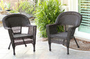 Jeco W00201_2 Espresso Wicker Chair - Set of 2