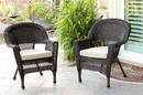 Jeco W00201_4-C-FS006-CS Espresso Wicker Chair With Tan Cushion - Set Of 4