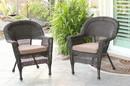 Jeco W00201_4-C-FS007-CS Espresso Wicker Chair With Brown Cushion - Set Of 4