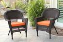 Jeco W00201_4-C-FS016-CS Espresso Wicker Chair With Orange Cushion - Set Of 4