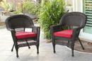Jeco W00201_4-C-FS018-CS Espresso Wicker Chair With Brick Red Cushion - Set Of 4