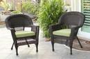 Jeco W00201_4-C-FS029-CS Espresso Wicker Chair With Sage Green Cushion - Set Of 4