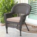 Jeco W00201-C-FS007 Espresso Wicker Chair with Brown Cushion