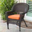 Jeco W00201-C-FS016 Espresso Wicker Chair with Orange Cushion