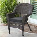 Jeco W00201-C-FS017 Espresso Wicker Chair with Black Cushion