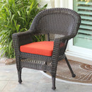 Jeco W00201-C-FS018 Espresso Wicker Chair with Red Cushion