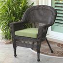 Jeco W00201-C-FS029 Espresso Wicker Chair with Green Cushion