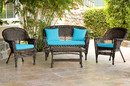 Jeco W00201-G-FS027 4Pc Espresso Wicker Conversation Set - Sky Blue Cushion