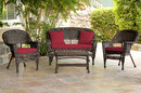 Jeco W00201-G-FS030 4Pc Espresso Wicker Conversation Set - Red Cushion