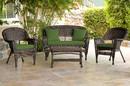 Jeco W00201-G-FS034 4Pc Espresso Wicker Conversation Set - Hunter Green Cushion