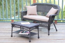 Jeco W00201-LCS006 Espresso Wicker Patio Love Seat And Coffee Table Set With Tan Cushion
