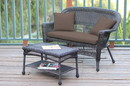 Jeco W00201-LCS007 Espresso Wicker Patio Love Seat and Coffee Table Set with Brown Cushion