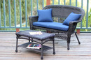 Jeco W00201-LCS011 Espresso Wicker Patio Love Seat And Coffee Table Set With Blue Cushion