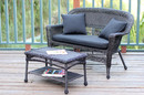 Jeco W00201-LCS017 Espresso Wicker Patio Love Seat And Coffee Table Set With Black Cushion