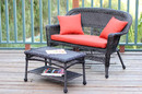 Jeco W00201-LCS018 Espresso Wicker Patio Love Seat And Coffee Table Set With Red Orange Cushion