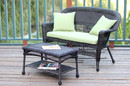 Jeco W00201-LCS029 Espresso Wicker Patio Love Seat and Coffee Table Set with Green Cushion