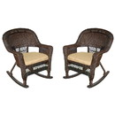 Jeco W00201R-A_2-FS006 Espresso Rocker Wicker Chair With Tan Cushion - Set Of 2