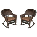 Jeco W00201R-A_2-FS007 Espresso Rocker Wicker Chair With Brown Cushion - Set Of 2